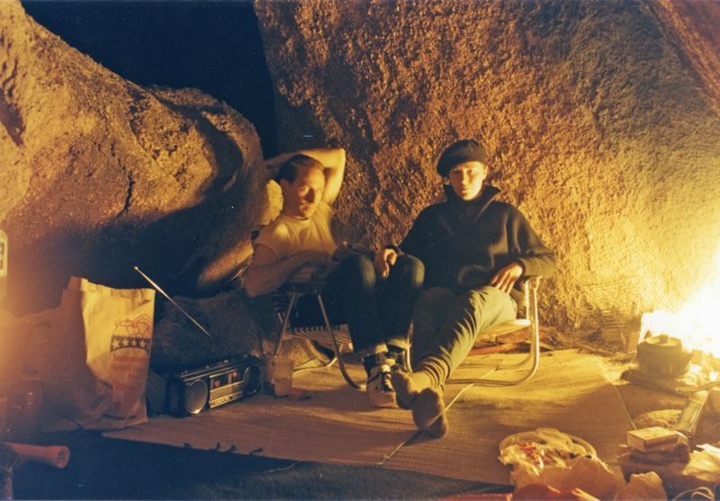 Max & Katie keeping warm in their cave, December 1985