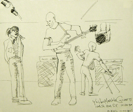Max's drawing of the Welsh band Young Marble Giants, 1980