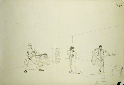 Max's drawing of Los Angeles band X performing in a CalArts classroom, 1979