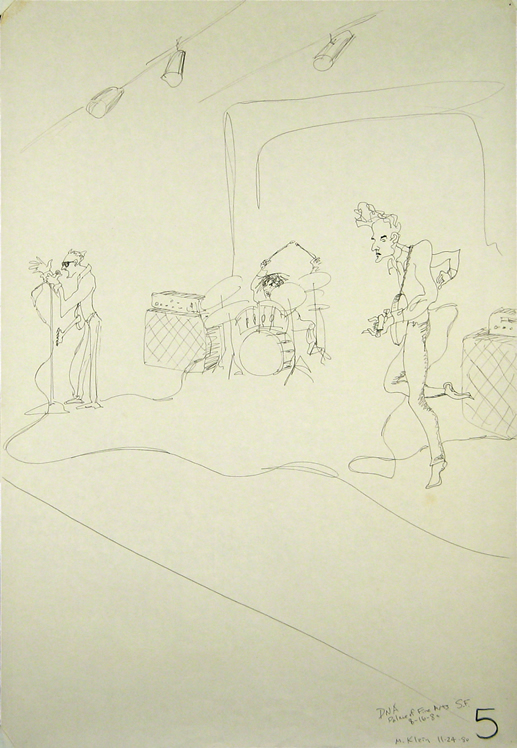 Max's drawing of the New York no-wave band DNA, 1980