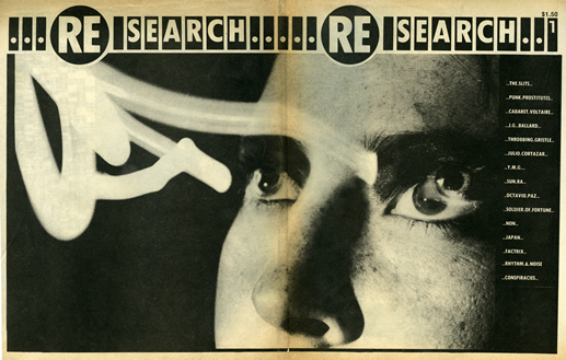 Cover of Re/Search, first issue, featuring The Slits, Throbbing Gristle, and Sun Ra