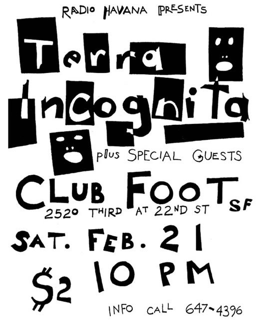 Max's poster for Terra Incognita's first show, 1981